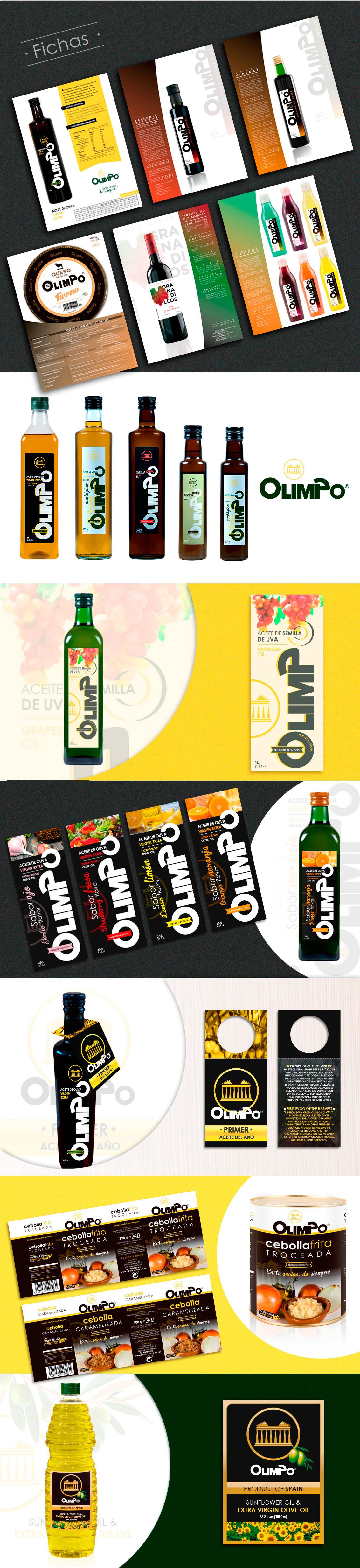 Diseño grafico, branding, diseño de fichas, diseño etiquetas aceites Olimpo
