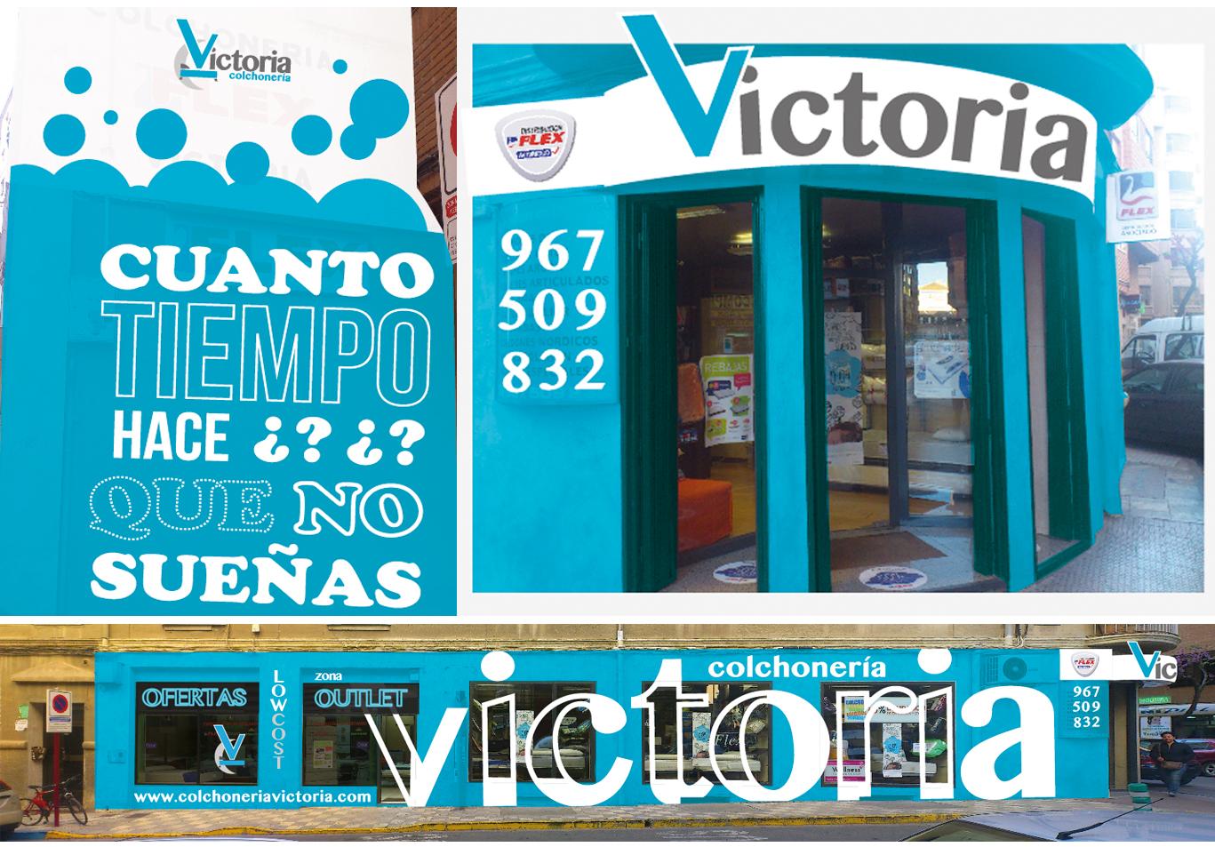 Diseño gráfico Albacete, diseño de fachada Colchonería Victoria