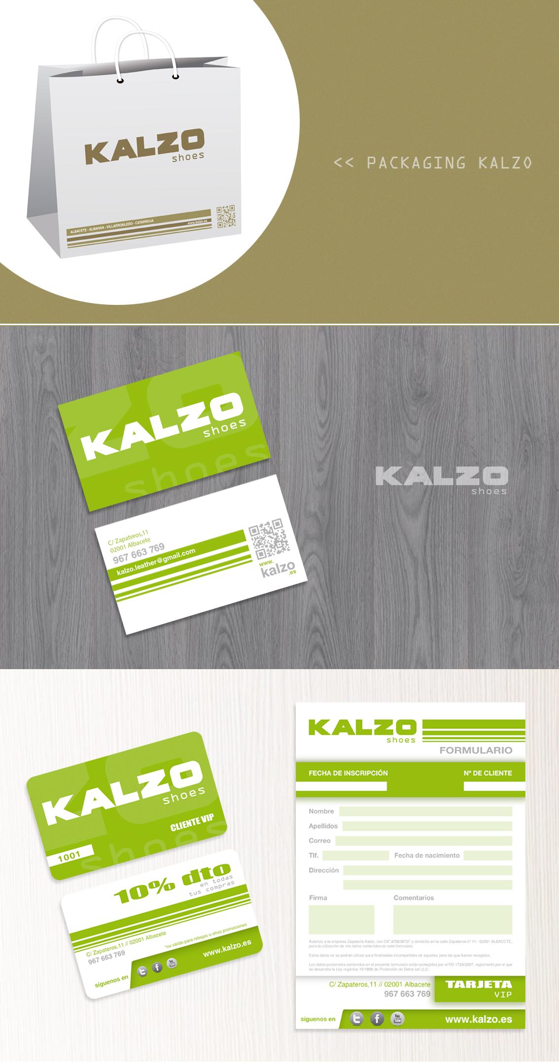 Diseño gráfico, diseño grafico Albacete e imprenta de papelería comercial y packaging de zapaterias Kalzo
