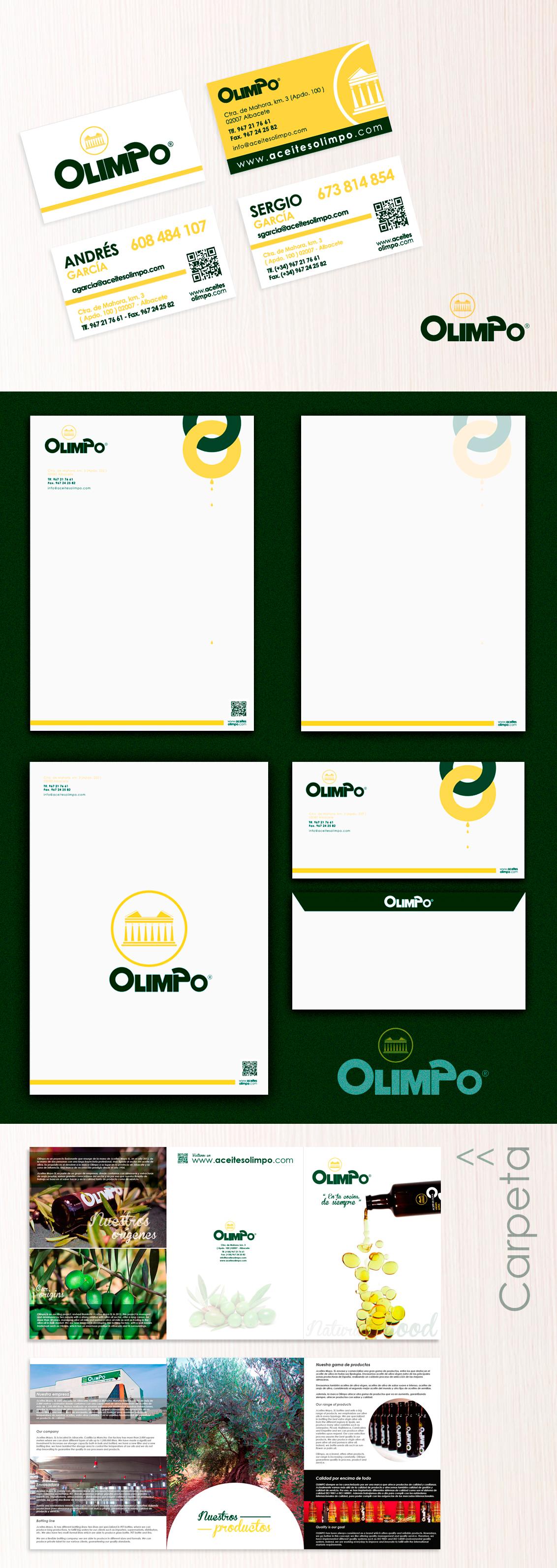 Diseño gráfico Albacete, diseño de imagen corporativa Olimpo, diseño grafico, branding, diseño de fichas, diseño etiquetas aceites Olimpo