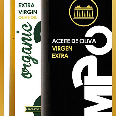 Branding Olimpo, diseño de papelería corporativa y etiquetas para botellas de aceite, aceitunas y demás soportes.